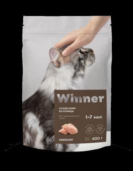 Winner 0,4кг сухой корм для стерилизованных кошек с курицей