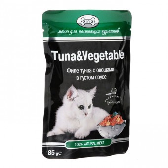 Gina 24шт*85г Паучи тунец с овощами в желе Коробка
