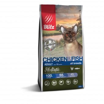 Blitz Holistic Cat Adult 5кг сухой низкозерновой корм для взрослых кошек с курицей и рыбой