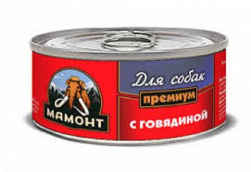 6шт Мамонт 100гр  Говядина консервы для собак
