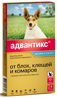 Bayer Advantix GOLD 100 С для собак от 4 до 10кг 4 пипетки/1мл.