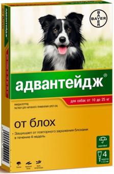 Bayer (Байер) Адвантейдж Капли для собак 10-25 кг от блох 4 пипетки по 2,5 мл