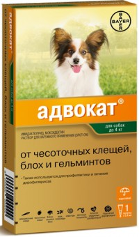 Bayer (Байер) Адвокат для собак до 4 кг 1 пипетка