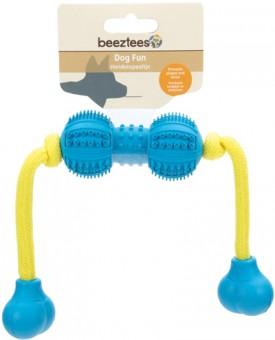 Beeztees Игрушка для собак Гантель шипованная на веревке для ухода за зубами, резина, голубая 9 см