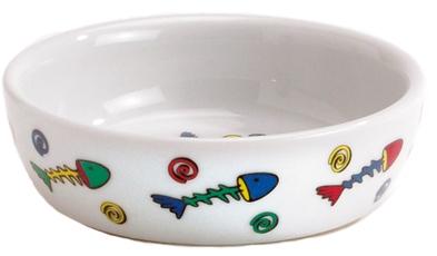 Beeztees Миска 330мл*13см  для кошек фарфоровая с цветными рыбками
