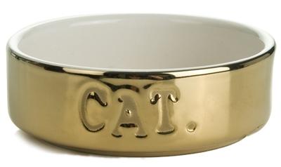 Beeztees Миска 200мл*11,5*4см  для кошек керамическая золотая