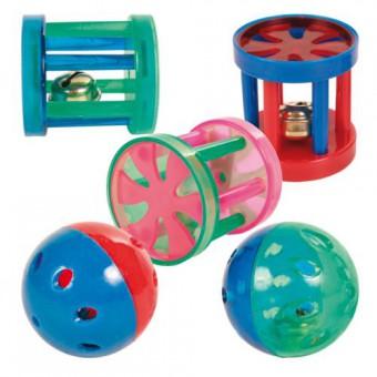 Beeztees Набор игрушек для кошек Мяч-погремушка и цилиндр с колокольчиком 2шт*4см (блистер)
