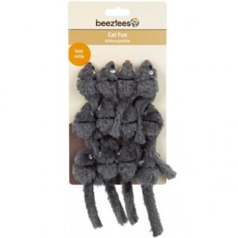 Beeztees Набор игрушек для кошек Мышь-погремушка меховая, серая 12шт*5см (блистер)