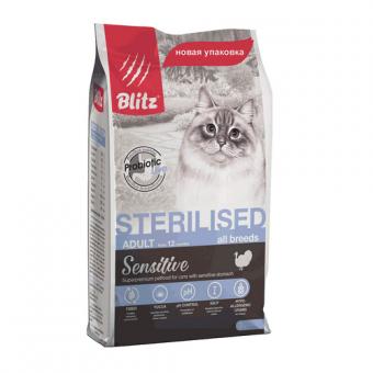 BLITZ 10кг STERILISED/полнорационный сухой корм для стерилизованных кошек