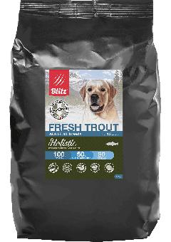 BLITZ 12 кг ADULT FRESH TROUT сухой низкозерновой корм для взрослых собак свежая форель