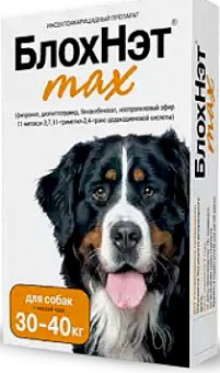 БлохНэт капли 30-40 кг 4 мл для собак от блох, власоедов, ушных и иксодовых клещей и комаров