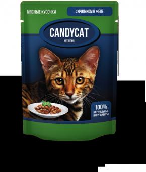 24шт Candycat 85г Паучи для взрослых кошек с кроликом в желе
