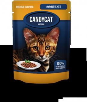 Candycat 85г Паучи для взрослых кошек с курицей в желе, 24шт