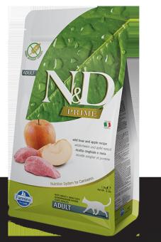 Farmina 1,5 кг N&D Cat Grain Free Boar & Apple Adult Беззерновой корм для взрослых кошек кабан и яблоко