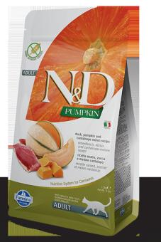 Farmina 1,5 кг N&D Cat Grain Free Pumpkin Duck & Melon Cantaloupe Adult Беззерновой корм для взрослых кошек Утка и Мускусная Дыня с Тыквой