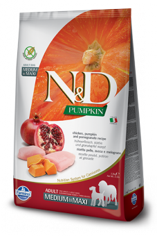 Farmina 2,5кг N&D Dog Grain Free Pumpkin Chicken & Poumegranate Adult Medium & Maxi Беззерновой корм для взрослых собак средних и крупных пород Курица и Гранат с Тыквой