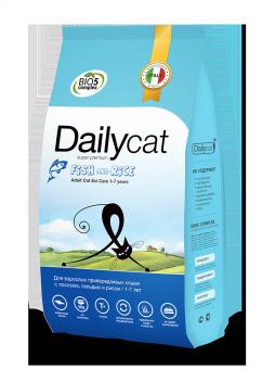 DailyCat 400 г Adult cat Exi Care Fish and Rice корм для взрослых привередливых кошек с сельдью, лососем и рисом