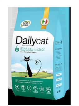 DailyCat 3 кг Adult cat Hairball Chicken and Rice корм для взрослых кошек с курицей и рисом