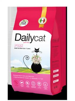 DailyCat 1,5 кг Grain Free Ault cat Steri lite Pork беззерновой корм для взрослых стерилизованных кошек и кастрированных котов со свининой