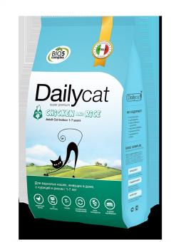 DailyCat 400 г Adult cat Indoore Chicken and Rice корм для взрослых домашних кошек с курицей и рисом
