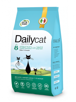 DailyCat3 кг Kitten Chicken and Rice корм для котят, беременных и лактирующих кошек с курицей и рисом