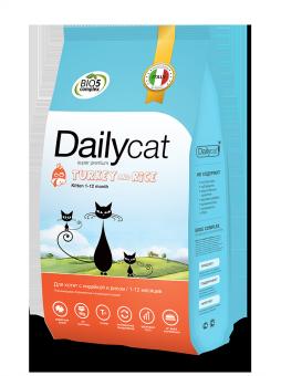 DailyCat10 кг Kitten Turkey and Rice корм для котят, беременных и лактирующих кошек с индейкой и рисом