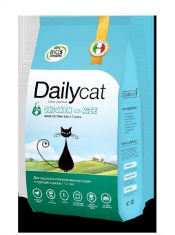 DailyCat400 г Adult cat Steri lite Chicken and Rice корм для взрослых стерилизованных кошек и кастрированных котов с курицей и рисом