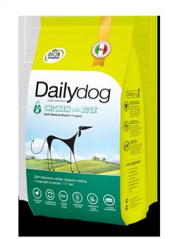 DailyDog12 кг Adult dog Medium Breed Chicken and Rice корм для взрослых собак средних пород с курицей и рисом