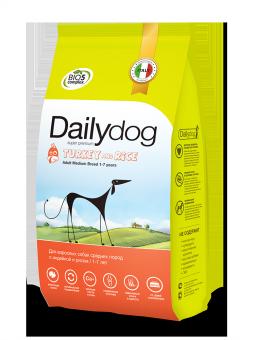 DailyDog20 кг Adult dog Medium Breed Turkey and Rice корм для взрослых собак средних пород с индейкой и рисом