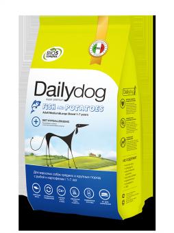 DailyDog 3кг Adult Dog Medium&Large Breed Fish and Potatoes корм для взрослых собак средних и крупных с рыбой и картофелем