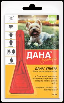 Дана Ультра Капли для собак и щенков до 5 кг инсектоакарицидные 1 пипетка 0,4 мл