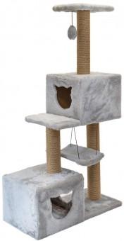 Дарэлл 72*36*h127см Комплекс-когтеточка Джут 95 3-х уровневый квадратный с 2-мя домиками и гамаком, серый
