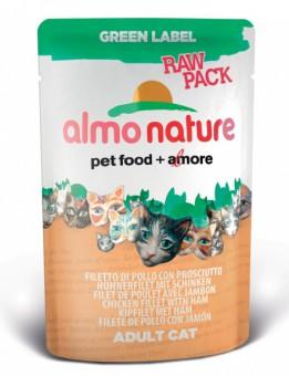 6шт Almo Nature 55гр с куриным филе и ветчиной Паучи для кошек , 75% мяса, Green label Raw Pack Cat Chicken Fillet with Ham