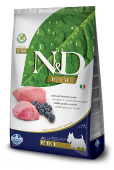 Farmina 2,5 кг N&D Dog Prime Lamb & Blueberry Adult Mini Беззерновой сухой корм для взрослых собак мини пород Ягненок и Черника