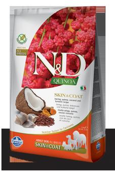 Farmina 2,5 кг N&D Dog Grain Free Quinoa Skin & Coat Herring сухой корм для взрослых собак  всех пород Здоровье кожи и шерсти Сельдь, Кокос и Куркума с Киноа