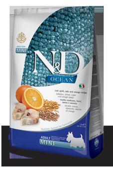 Farmina 2,5кг N&DOcean Cod, Spelt, Oats & Orange Adult Mini Низкозерновой сухой корм для взрослых собак мини пород Треска, Спельта, Овес и Апельсин