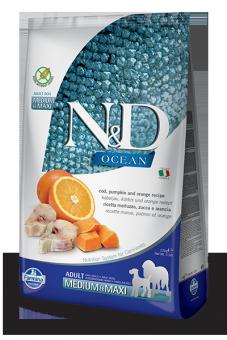 Farmina 2,5 кг N&D Dog Ocean Cod, Pumpkin & Orange Adult Medium & Maxi Беззерновой сухой корм для взрослых собак средних и крупных пород Треска, Тыква и Апельсин