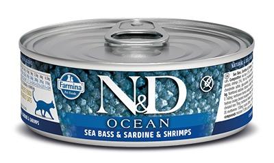 Farmina (Фармина) 80 г консервы для кошек N&D OCEAN Sea Bass, Sardine & Shrimps (Морской окунь, Сардина, Креветки)