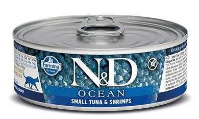 Farmina (Фармина) 80 г консервы для кошек N&D OCEAN Small Tuna & Shrimps (Тунец, Креветки)