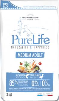 Flatazor 2 кг Pure Life Adult Medium Сухой корм для взрослых собак средних пород, лосось и утка