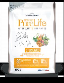Flatazor 0,4 кг Pure Life Sterilized Duck and Sardine Cухой корм для стерилизованных кошек с уткой и сардинами