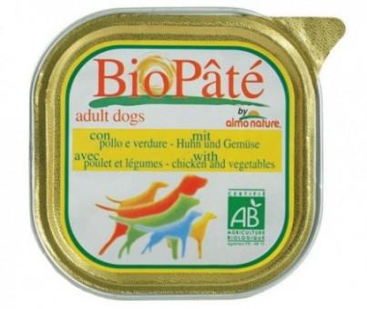 6шт Almo nature 100гр Bio pate adult chicken vegetables Консервы для взрослых собак паштет курица с овощами