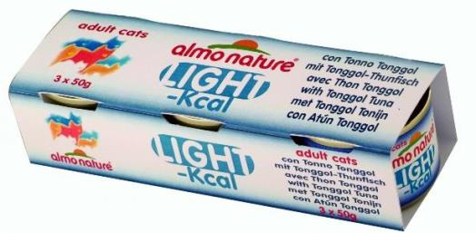 3шт,Almo Nature 50гр набор низкокалорийных консервов c тонгольским тунцом, Classic Light Cat Tongool Tuna