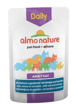 6шт Almo Nature 70гр паучи для кошек Меню с треской и креветками, Daily Menu - Cat Cod and Shrimps