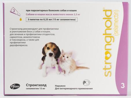 Pfizer СТРОНГХОЛД капли на холку   для котят и щенков 6% 3 пипетки по 0.25 мл(15мг-розовая)