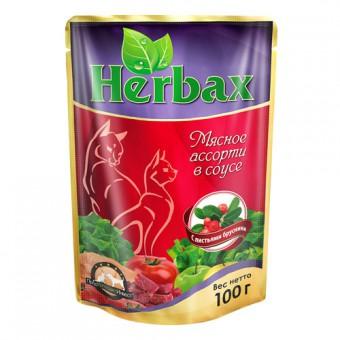 Herbax (Хербакс) 100г пауч для кошек Мясное ассорти в соусе с листьями брусники