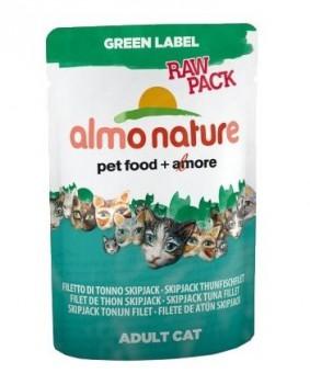 6шт Almo Nature 55гр с филе полосатого тунца Паучи для кошек , 75% мяса, Green label Raw Pack Cat Skip Jack Tuna Fillet