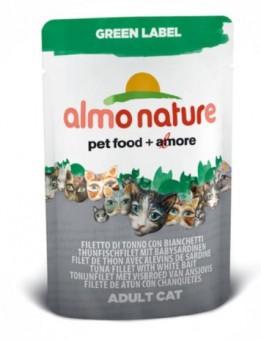 6шт Almo Nature 55гр филе тунца+сардинки паучи для кошек Tuna Fillet&White Bait Green Label Cat 75%