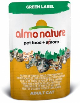 6шт Almo Nature 55гр филе тунца, курицы+ветчина паучи для кошек Tuna&Chicken Fillets&Ham Green Label Cat 75%