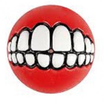 Мяч с принтом зубы и отверстием для лакомств GRINZ большой, красный (GRINZ BALL LARGE) GR04C